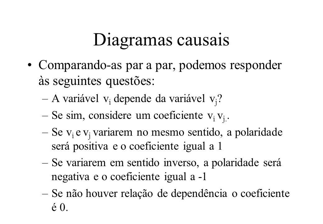 Diagramas causais Comparando-as par a par, podemos responder às seguintes questões: A variável vi depende da variável vj