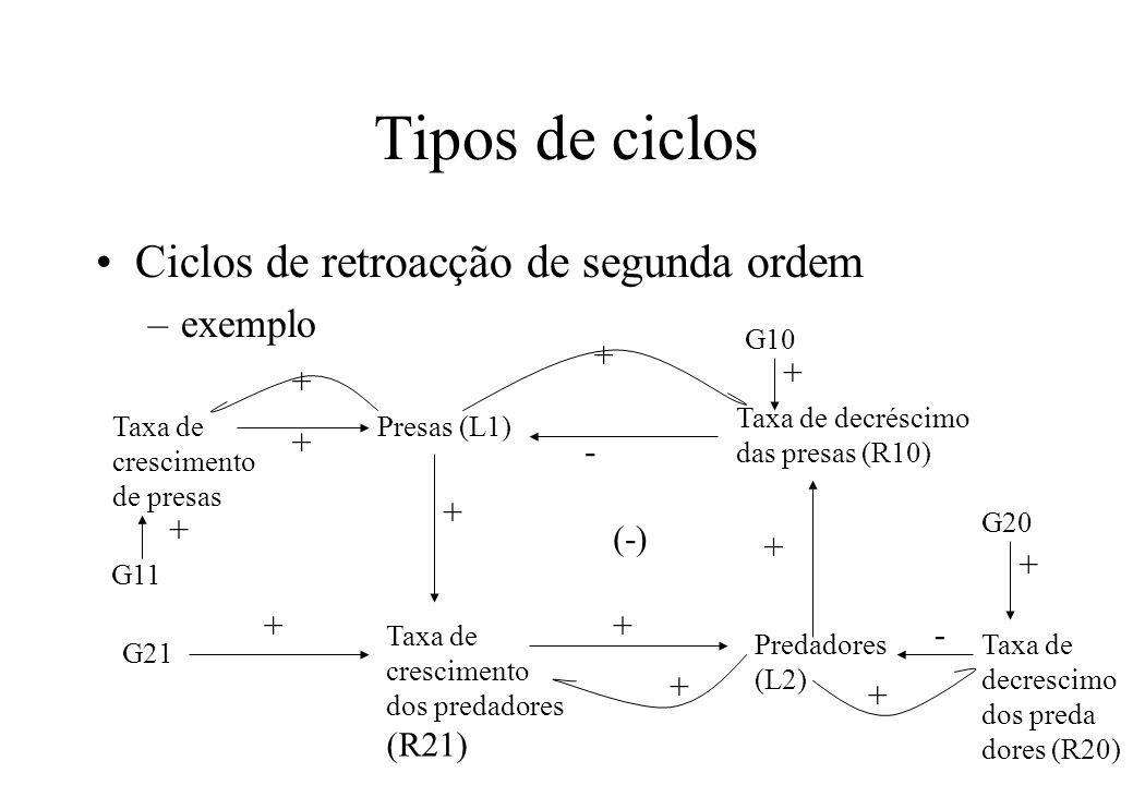 Tipos de ciclos Ciclos de retroacção de segunda ordem exemplo + + + +