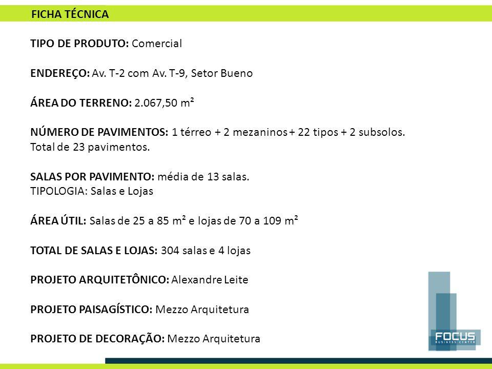 FICHA TÉCNICA TIPO DE PRODUTO: Comercial. ENDEREÇO: Av. T-2 com Av. T-9, Setor Bueno. ÁREA DO TERRENO: 2.067,50 m².