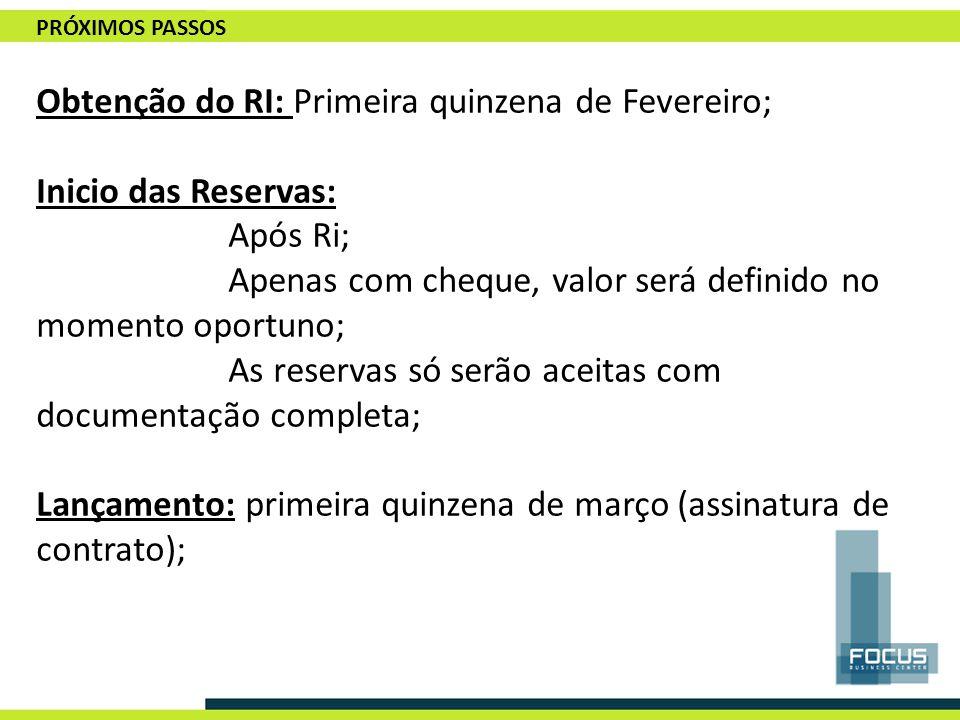 Obtenção do RI: Primeira quinzena de Fevereiro; Inicio das Reservas: