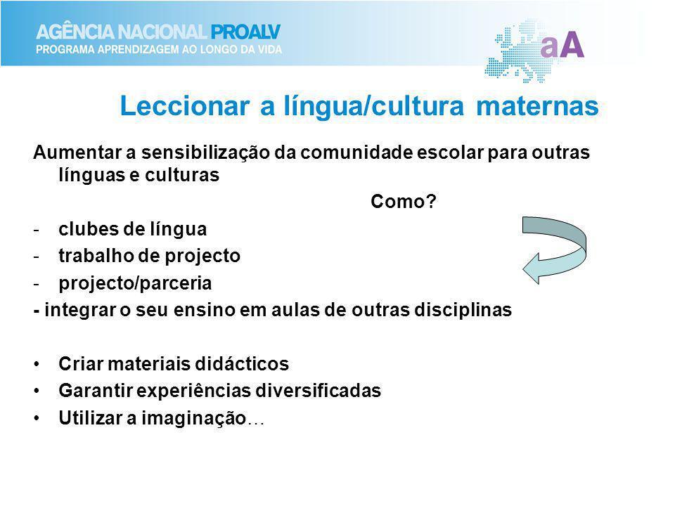 Leccionar a língua/cultura maternas