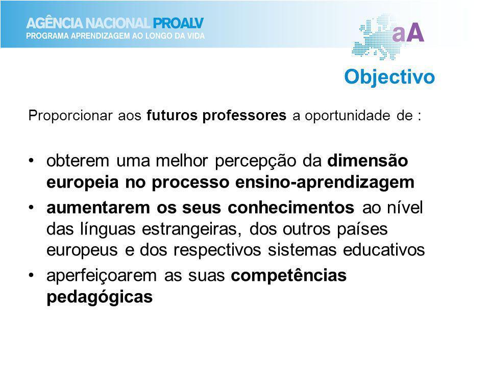 Objectivo Proporcionar aos futuros professores a oportunidade de : obterem uma melhor percepção da dimensão europeia no processo ensino-aprendizagem.