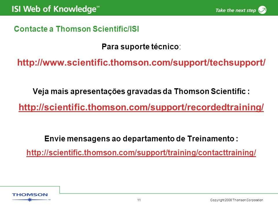 Contacte a Thomson Scientific/ISI