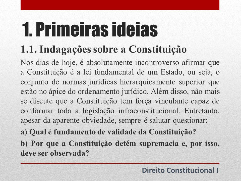 1. Primeiras ideias 1.1. Indagações sobre a Constituição