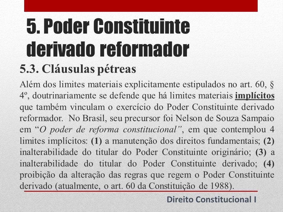 5. Poder Constituinte derivado reformador
