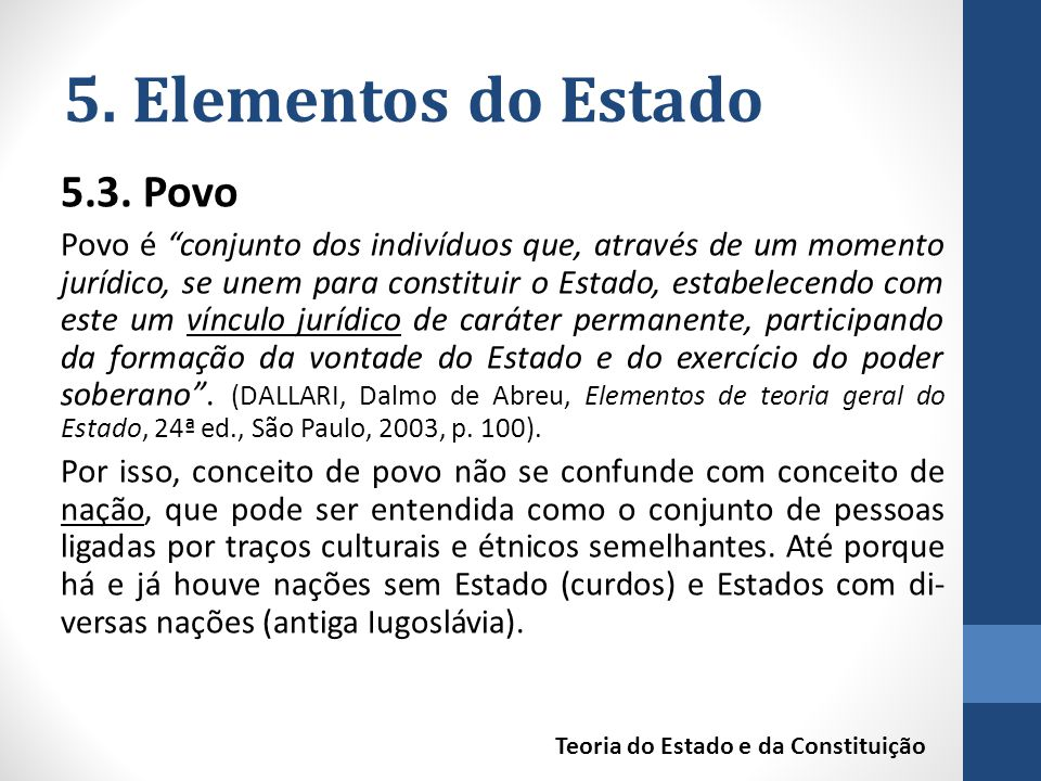 5. Elementos do Estado 5.3. Povo