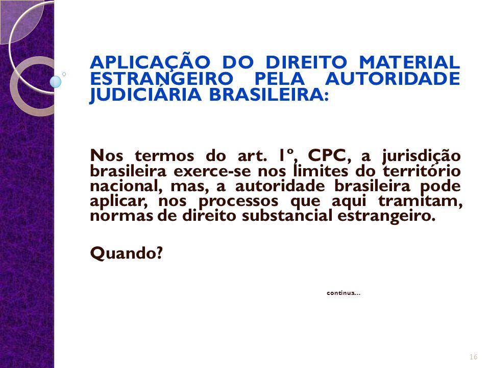 APLICAÇÃO DO DIREITO MATERIAL ESTRANGEIRO PELA AUTORIDADE JUDICIÁRIA BRASILEIRA:
