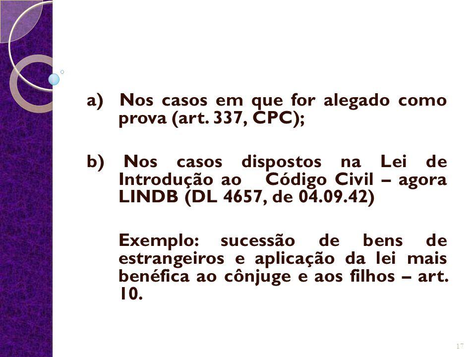 a) Nos casos em que for alegado como prova (art. 337, CPC);