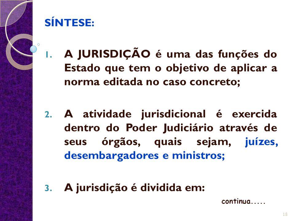 A jurisdição é dividida em: