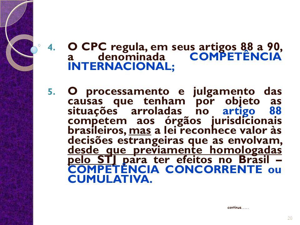 O CPC regula, em seus artigos 88 a 90, a denominada COMPETÊNCIA INTERNACIONAL;