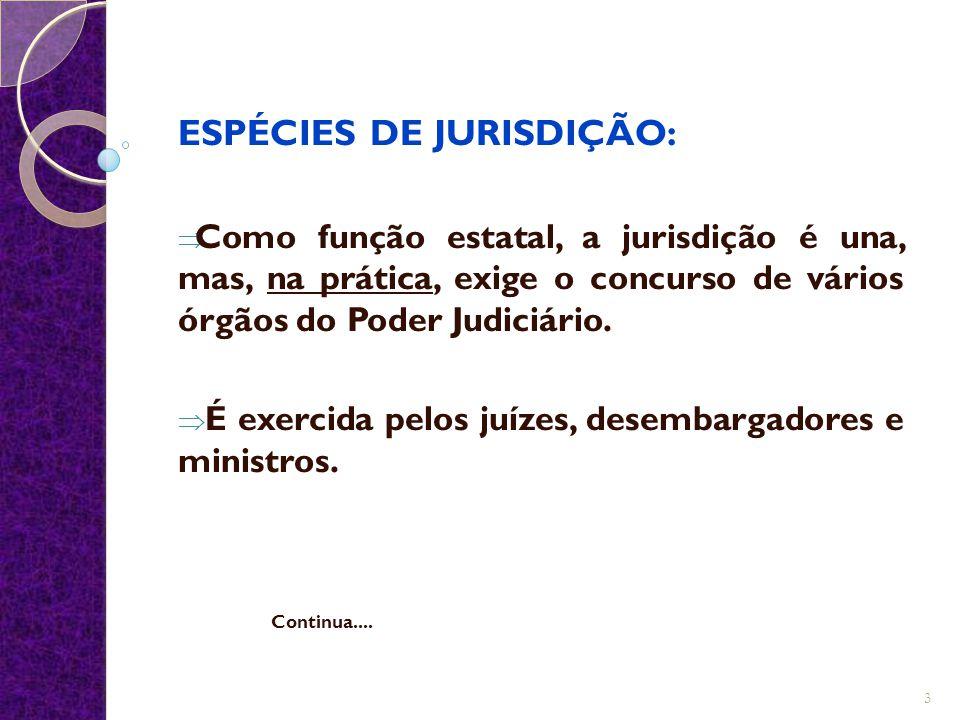 ESPÉCIES DE JURISDIÇÃO: