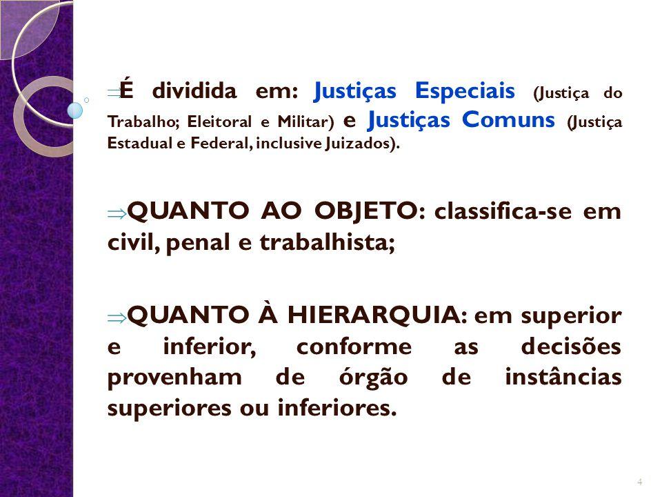 QUANTO AO OBJETO: classifica-se em civil, penal e trabalhista;
