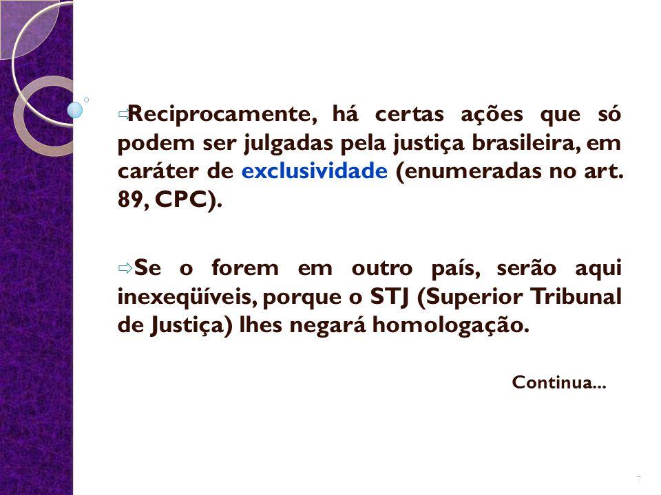 Reciprocamente, há certas ações que só podem ser julgadas pela justiça brasileira, em caráter de exclusividade (enumeradas no art. 89, CPC).