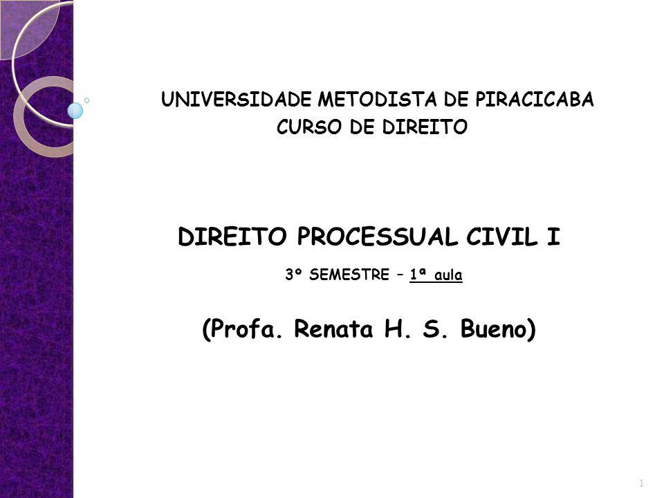 DIREITO PROCESSUAL CIVIL I (Profa. Renata H. S. Bueno)