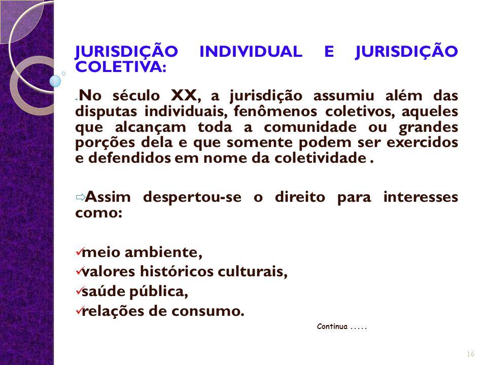 JURISDIÇÃO INDIVIDUAL E JURISDIÇÃO COLETIVA: