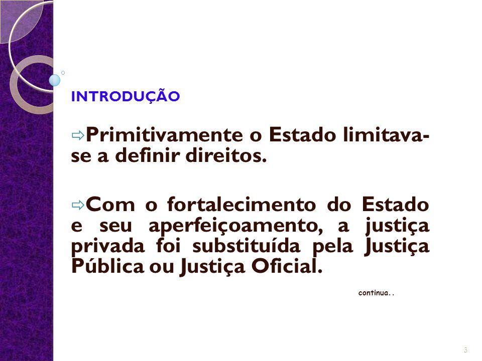Primitivamente o Estado limitava-se a definir direitos.