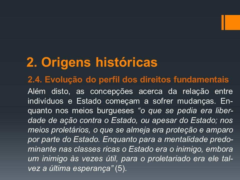 2. Origens históricas 2.4. Evolução do perfil dos direitos fundamentais.