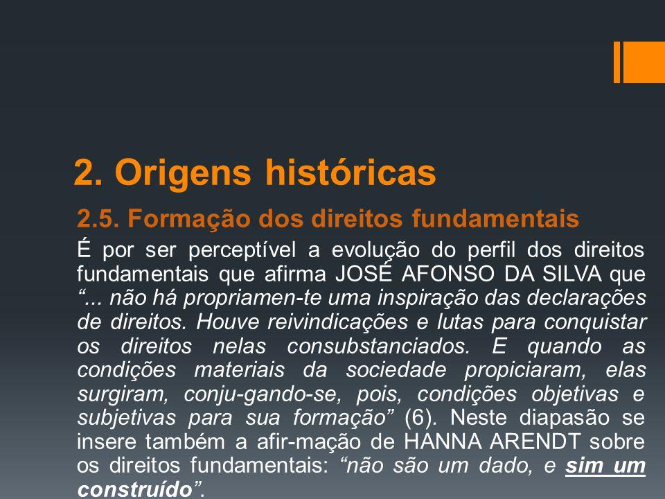 2. Origens históricas 2.5. Formação dos direitos fundamentais