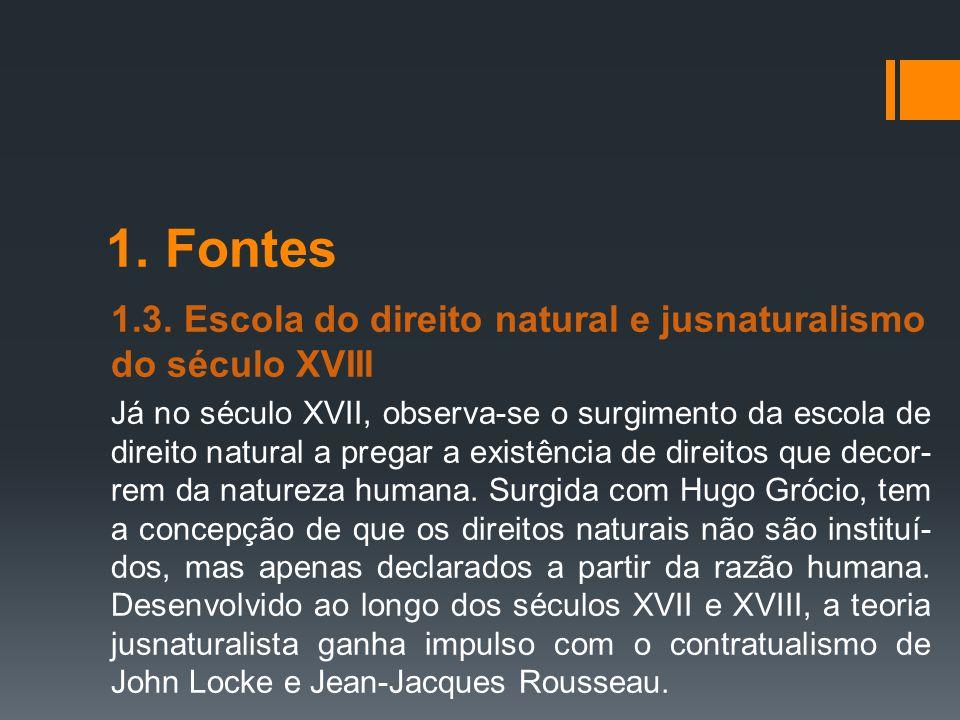 1. Fontes 1.3. Escola do direito natural e jusnaturalismo do século XVIII.