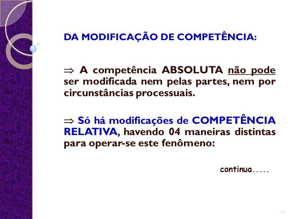 DA MODIFICAÇÃO DE COMPETÊNCIA: