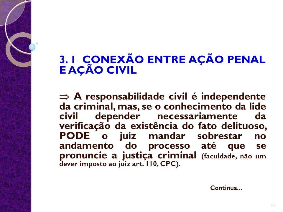 3. 1 CONEXÃO ENTRE AÇÃO PENAL E AÇÃO CIVIL