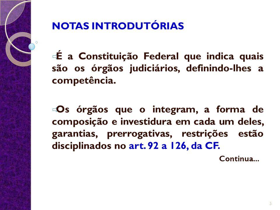 NOTAS INTRODUTÓRIAS É a Constituição Federal que indica quais são os órgãos judiciários, definindo-lhes a competência.