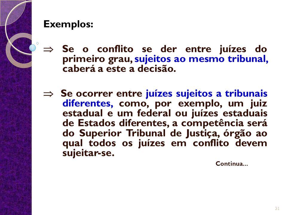 Exemplos:  Se o conflito se der entre juízes do primeiro grau, sujeitos ao mesmo tribunal, caberá a este a decisão.