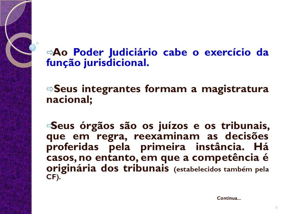 Ao Poder Judiciário cabe o exercício da função jurisdicional.
