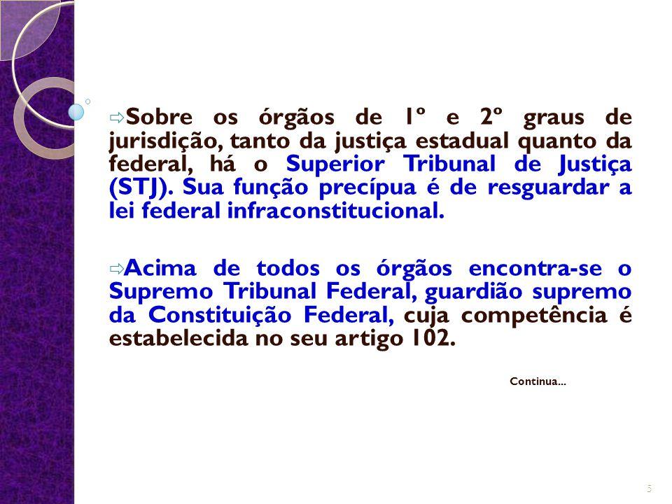 Sobre os órgãos de 1º e 2º graus de jurisdição, tanto da justiça estadual quanto da federal, há o Superior Tribunal de Justiça (STJ). Sua função precípua é de resguardar a lei federal infraconstitucional.