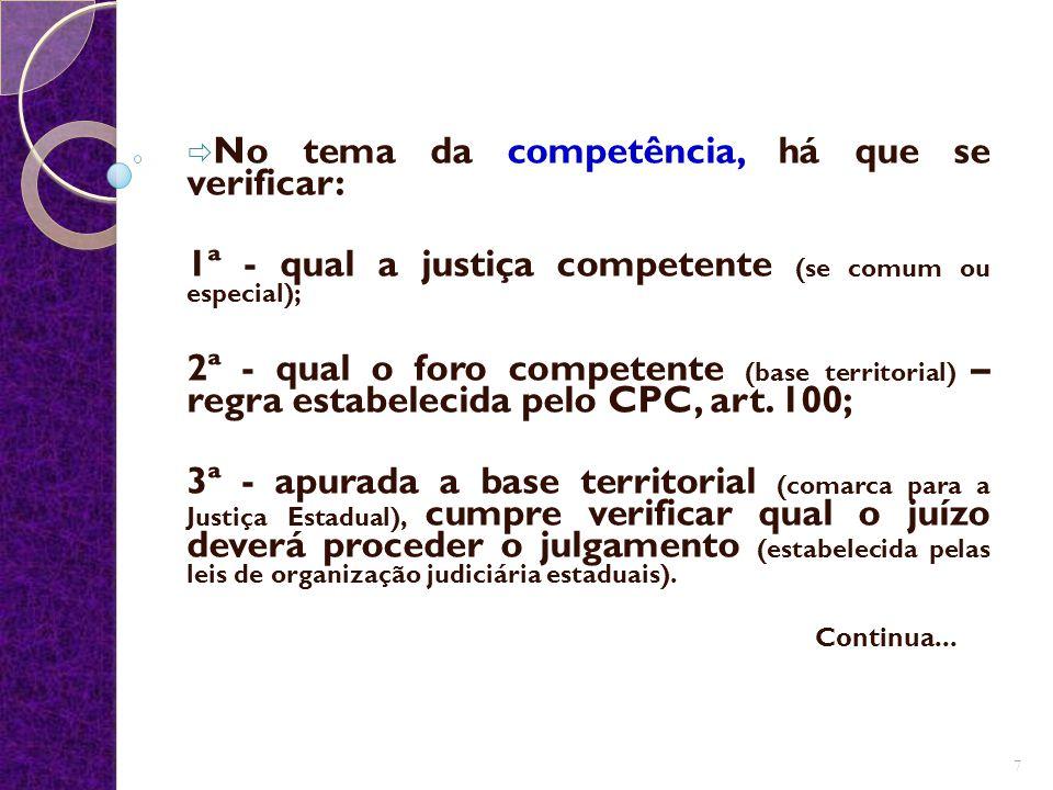 No tema da competência, há que se verificar: