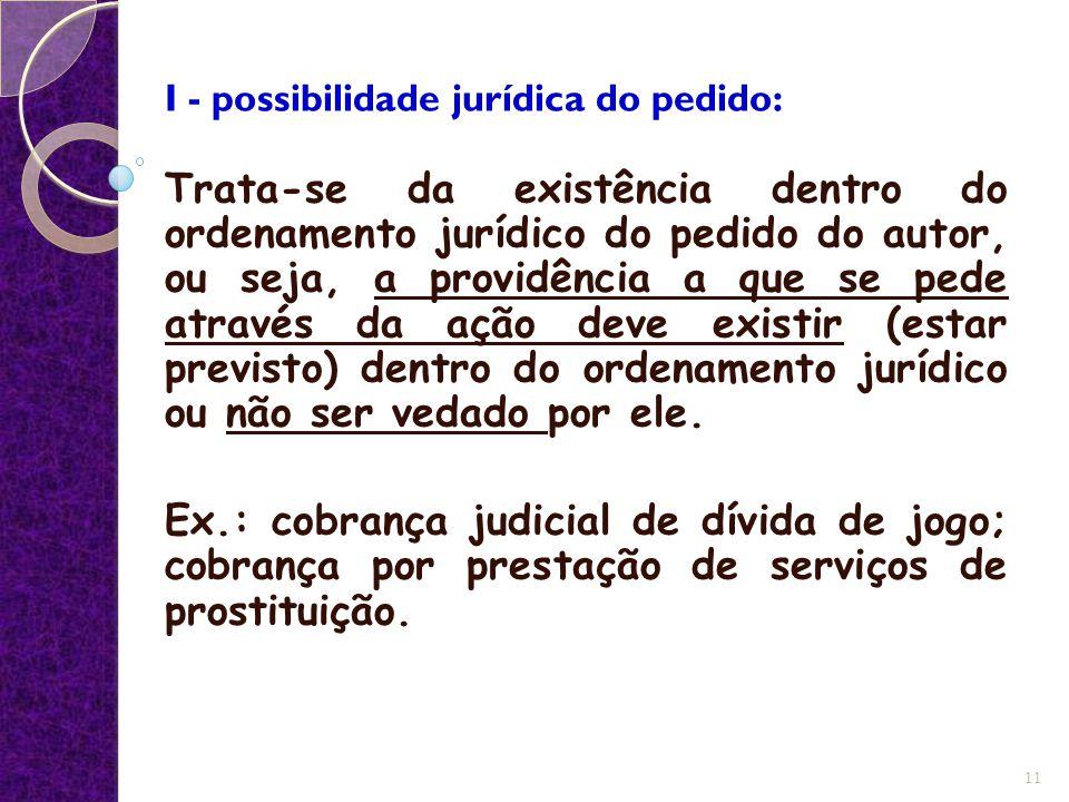 I - possibilidade jurídica do pedido: