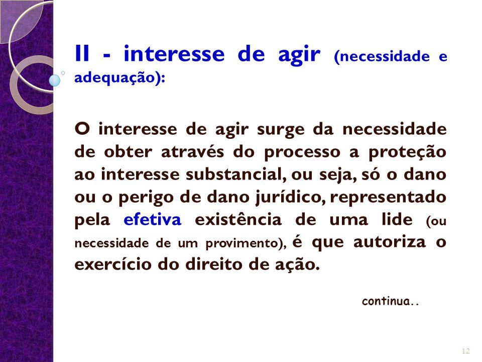 II - interesse de agir (necessidade e adequação):