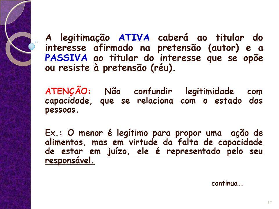A legitimação ATIVA caberá ao titular do interesse afirmado na pretensão (autor) e a PASSIVA ao titular do interesse que se opõe ou resiste à pretensão (réu).