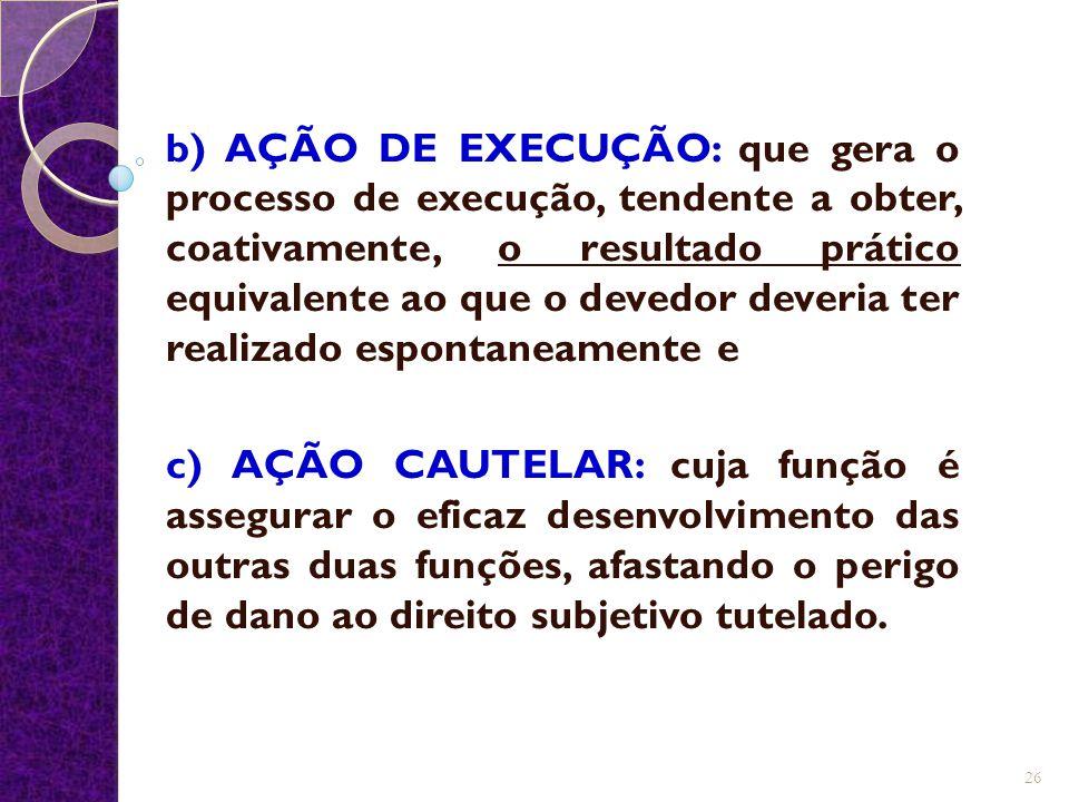 b) AÇÃO DE EXECUÇÃO: que gera o processo de execução, tendente a obter, coativamente, o resultado prático equivalente ao que o devedor deveria ter realizado espontaneamente e