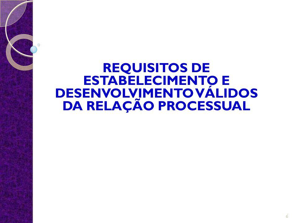 REQUISITOS DE ESTABELECIMENTO E DESENVOLVIMENTO VÁLIDOS DA RELAÇÃO PROCESSUAL