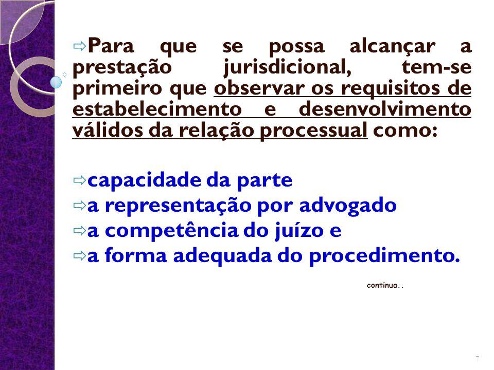 a representação por advogado a competência do juízo e