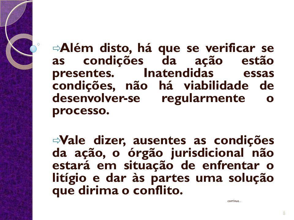Além disto, há que se verificar se as condições da ação estão presentes. Inatendidas essas condições, não há viabilidade de desenvolver-se regularmente o processo.