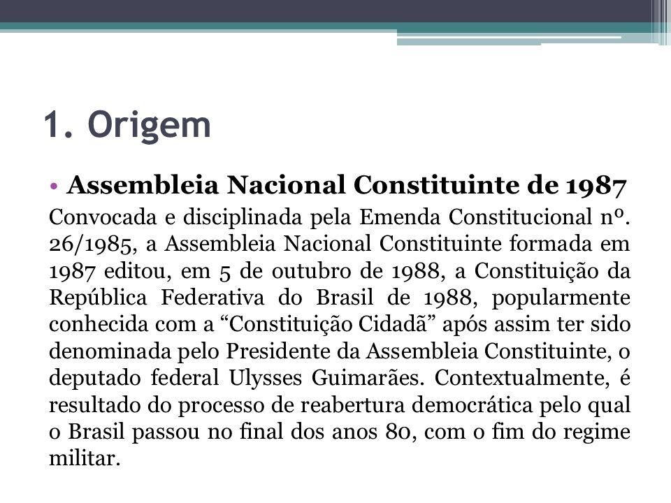 1. Origem Assembleia Nacional Constituinte de 1987