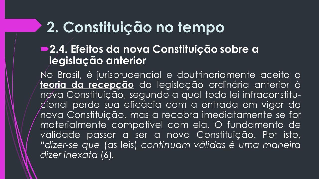 2. Constituição no tempo 2.4. Efeitos da nova Constituição sobre a legislação anterior.