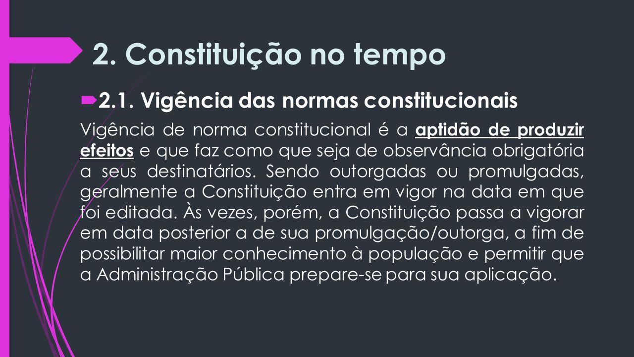 2. Constituição no tempo 2.1. Vigência das normas constitucionais