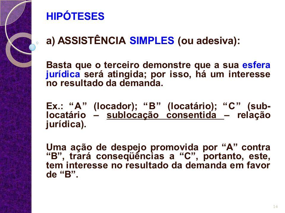 a) ASSISTÊNCIA SIMPLES (ou adesiva):