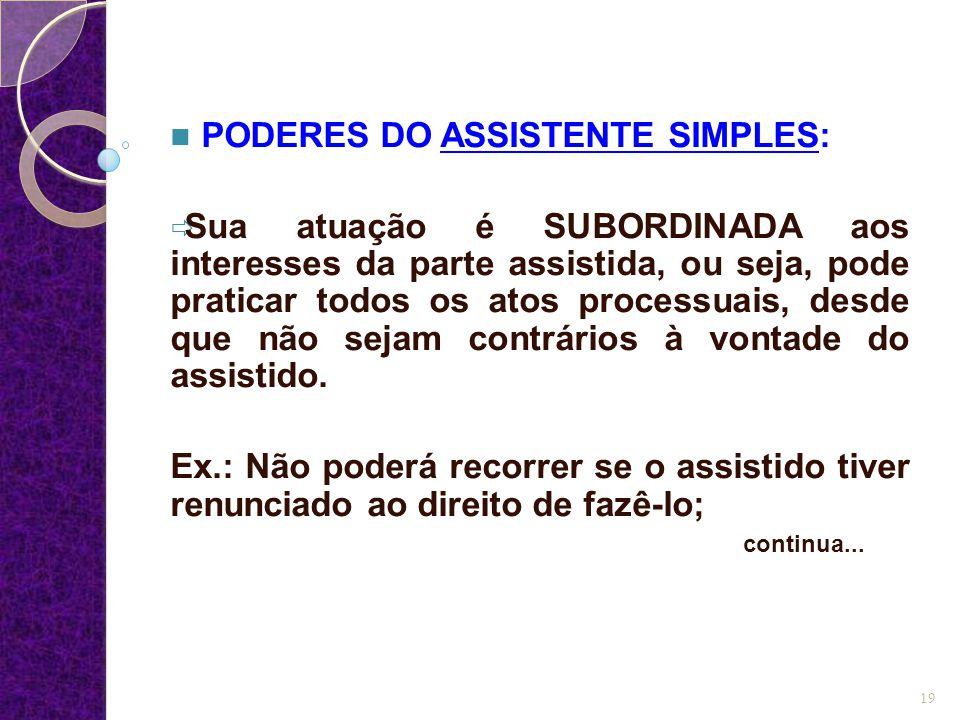 PODERES DO ASSISTENTE SIMPLES: