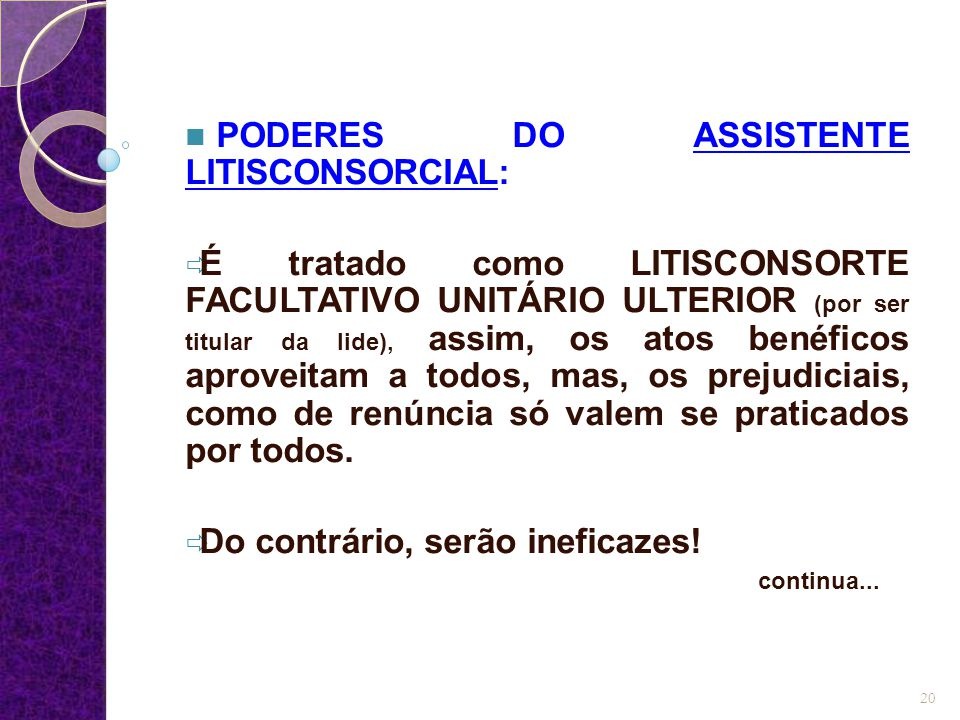 PODERES DO ASSISTENTE LITISCONSORCIAL: