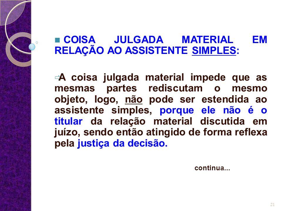COISA JULGADA MATERIAL EM RELAÇÃO AO ASSISTENTE SIMPLES: