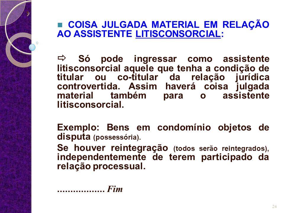 COISA JULGADA MATERIAL EM RELAÇÃO AO ASSISTENTE LITISCONSORCIAL: