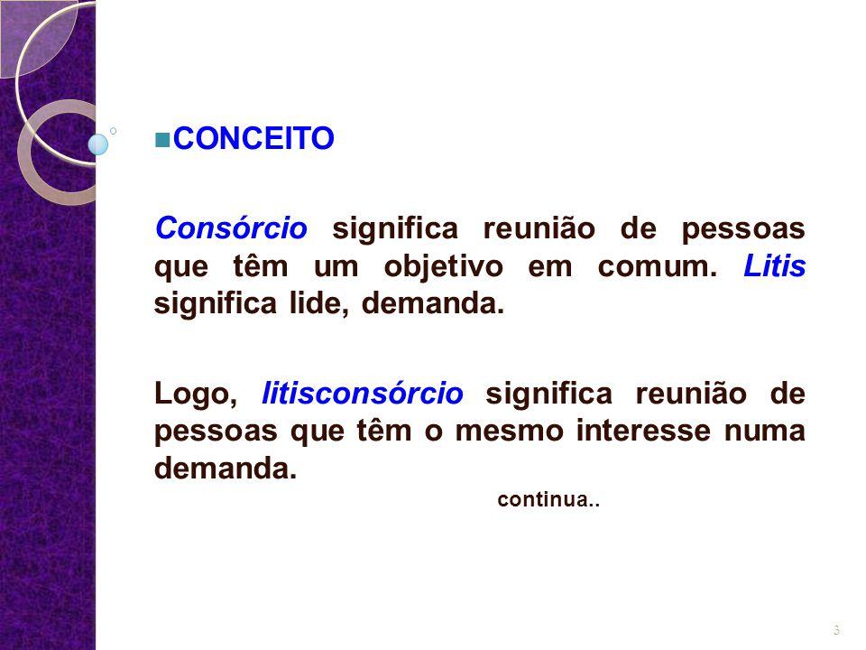 CONCEITO Consórcio significa reunião de pessoas que têm um objetivo em comum. Litis significa lide, demanda.