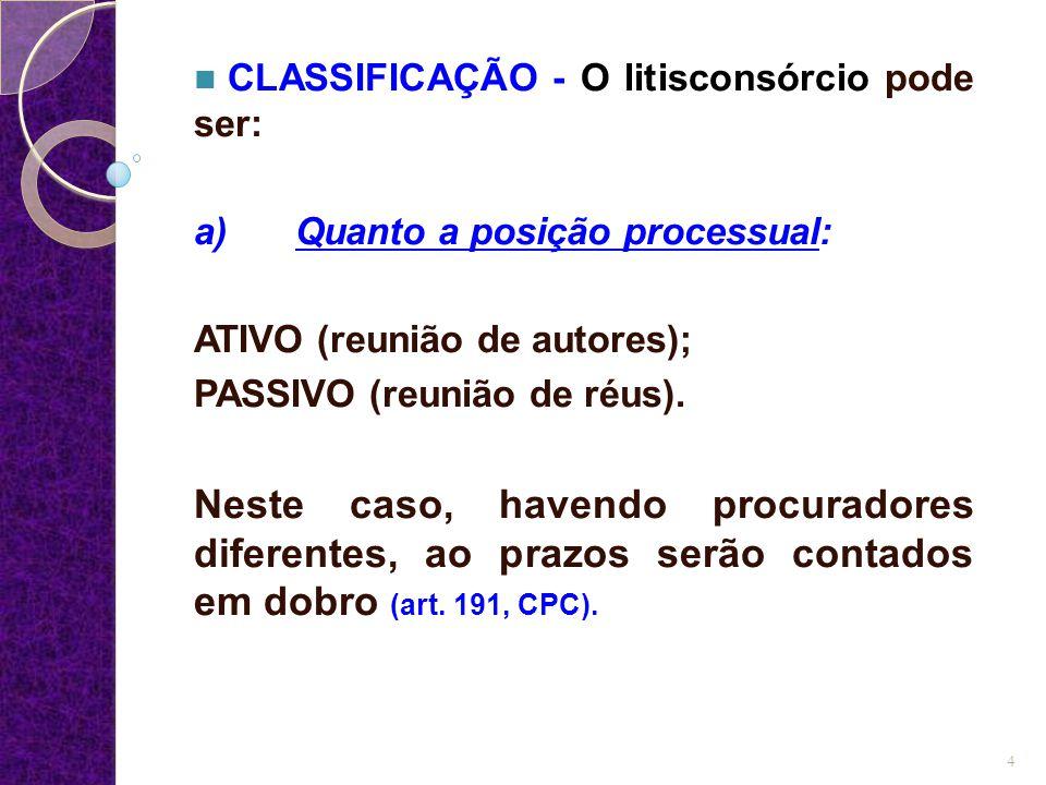 CLASSIFICAÇÃO - O litisconsórcio pode ser: