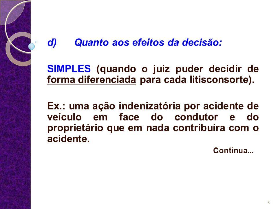 d) Quanto aos efeitos da decisão: