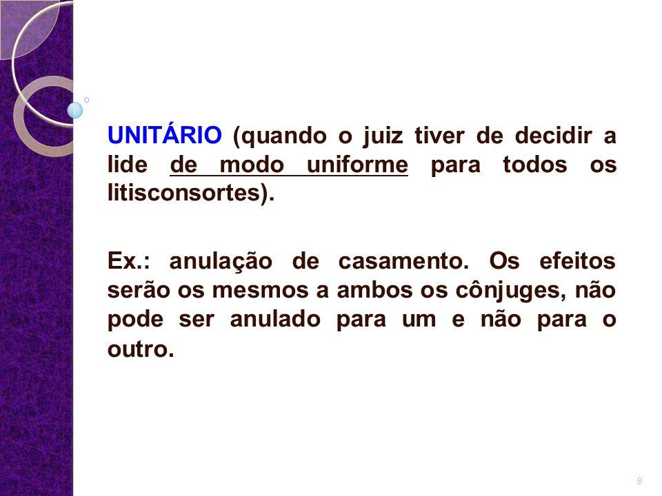 UNITÁRIO (quando o juiz tiver de decidir a lide de modo uniforme para todos os litisconsortes).