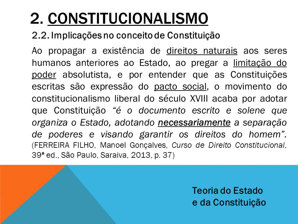 2. CONSTITUCIONALISMO 2.2. Implicações no conceito de Constituição